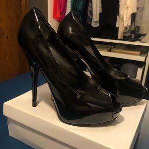 Black Patent Peep Toe Pump - Steve Madden
